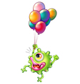 A monster with colourful balloons vector