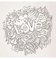 Love hand lettering and doodles elements sketch vector