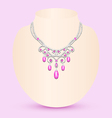 Female necklace with pink vector