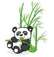 Cute panda bear in bamboo forrest 02 vector