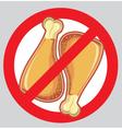 No chicken drumsticks forbidden symbol vector