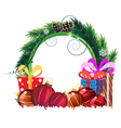 Christmas wreath with baubles and gift boxes vector