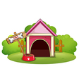 A wooden doghouse at the yard vector