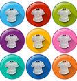 Rounded buttons with shirts vector