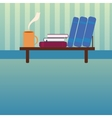 Bookshelf with books and cup of hot tea in style vector