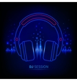 Light neon headphones vector