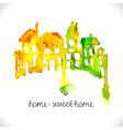 Watercolor beautiful homes vector