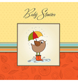 Baby shower card with little bird stand in the vector