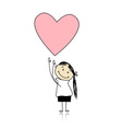 Saint valentine day - cute girl holding heart vector