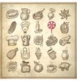 25 sketch doodle icons food vector
