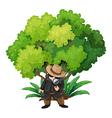A detective near the big tree vector