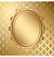 Oval golden frame on gold pattern vector