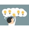 Businessman choosing the best idea light bulb vector