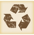 Grungy recycle icon vector