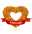 Heart of fall leaves and red ribbon banner vector