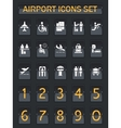 Airport information panel icons set vector