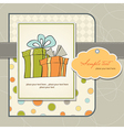 Birthday card with gift box vector