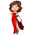 A sketch of a lady wearing a red formal dress vector