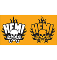 Hemi skull and pistons with grunge option vector