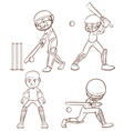 Plain sketches of the cricket players vector