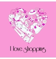 Heart from stylish hand drawn women items vector