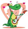 Romantic guitarist dinosaur singing vector