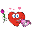 Valentine heart character holding a rose and candy vector