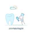 Stomatologist looking through a magnifying glass vector