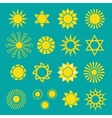 Set of yellow sun icons vector