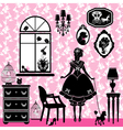 Princess room with glamour accessories furniture c vector