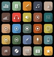 Music flat icons with long shadow vector