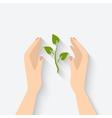 Green plant in hands symbol vector