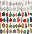 Set of leaves outline colors and milticolors vector