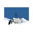 Passenger ship cargo boat anchor retro vector