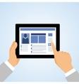 Hand tablet pc social vector