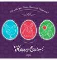 Easter eggs painted with rabbit hen and chicken vector