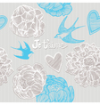 Valentines card swallows and flowers seamless patt vector