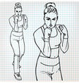 Woman boxer sketch vector