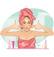 Girl applying cream in the bath vector