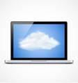 Laptop with cloud icon vector