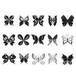Butterflies black silhouettes vector