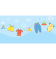 Baby clothes banner in the sky vector