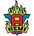 V8 hemi engine emblem with flames vector