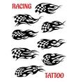 Set of motor racing tattoos vector