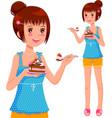 Girl eating cake vector