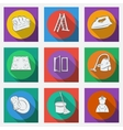 Fashionable flat icons with long shadows cleaning vector