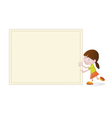 Cute girl with blank empty board vector