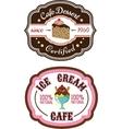 Chocolate pie and ice cream emblems vector