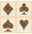Grungy card symbols icon set vector