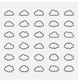 Big set black cloud shapes icons vector